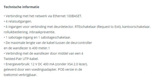 Technische informatie Xs4 2.0 CU Online controller