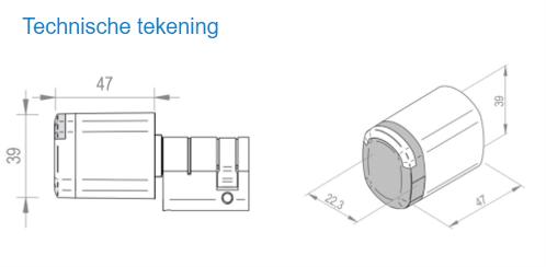 Technische tekening Salto Neo Cylinder