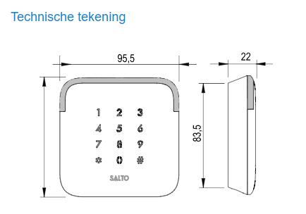 Technische tekening Salto XS4 2.0 wandlezer met codepaneel