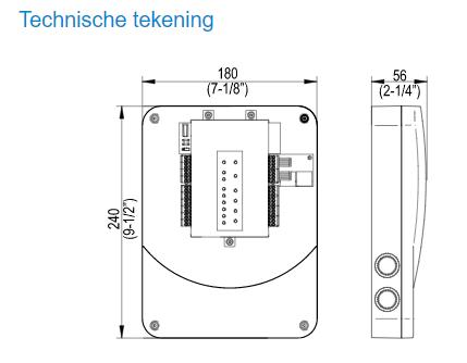 Technische tekening Salto XS4 Deurcontroller