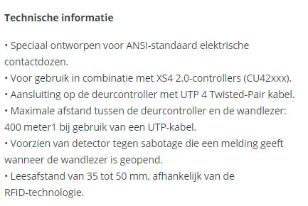 Technische informatie XS4-2.0-Wandlezer met codepaneel-